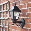 Traditional Black Bottom Fix Wall Lantern in  Situ on the Front of a House