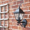 Traditional Black Wall Lantern with Ornate Bottom Fix Bracket