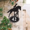 Bespoke Showjumping Horse Iron House Number Sign on a Garden Wall