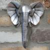 Silver Elephant Head Wall Art in Situ on a Brick Wall