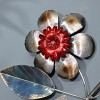 Close-up of the Metallic Silver and Red Flower