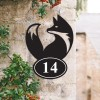 Simplistic Fox Iron House Number Sign in Situ on a  House