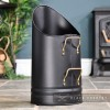 Black Coal Hod with Brass Handles in a Sleek Design