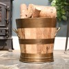 Wooden Barrel Log Bucket With Bronze Rims