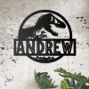 T-Rex Steel Monogram Steel House Name Sign on Situ on a Stone Wall