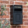 Traditional Black & Gold Wall Mounted Post Box in Situ