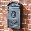 Black wall mounted lockable post box