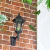 Large Bottom Fix Black Wall Lantern in Situ on Brick Wall