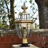 Traditional polished brass & glass driveway pedestal light
