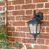 """Moorside"" Traditional Top Down Black Wall Lantern in Use"