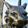 Close up of head of Cat Griffin Sculpture