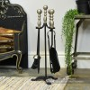 Traditional Companion Set with Sculpted Pewter Handles and Finished in Black