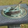 Butterfly Design Sundial in a Verdigris Finish
