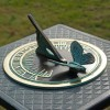 Verdigris Butterfly Sundial in Situ on a Sundial Column