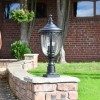 """""""Winsford"""" Black Traditional Countryside Pillar Light in Situ on a Brick Wall"""