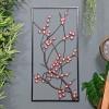 Wintersweet Floral Metal Wall Art in Situ on a Blue Wall