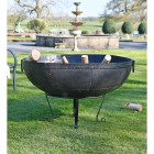 120cm Kadai Bowl in Garden Setting with Handles Down