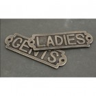 Antique Pewter Solid Brass Bathroom Sign or Push Plate – 'Ladies'