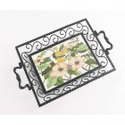 English Garden Iron & Ceramic Tray