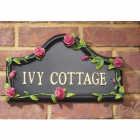 Hand Painted Pink Rose House Name Sign
