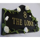 Hand Painted White Rose House Name Sign