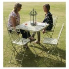 """Aunt Hilda"" Large Rectangular Cream Garden Table Set in Situ in the Garden"
