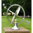 """""""Almwick Manor"""" Armillary Sundial Created From Solid Brass and Finished in an Antique Silver"""
