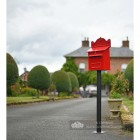 """Blushed Peony"" Red Goldhay Post Box On Garden Driveway"