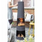 Contemporary Style Chiminea in Use Burning Wood