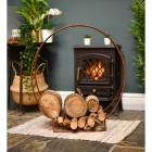 """""""Harewood Park"""" Contemporary Wrought Iron Log Holder in Situ Next to the Fireplace"""