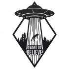 """I Want to Believe"" Alien Wall Art in a Black Finish"