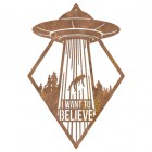 """""""I Want to Believe"""" Alien Wall Art in a Rustic Finish"""