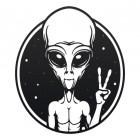 Peace Sign Alien Wall Art in a Black Finish