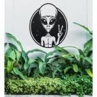 Peace Sign Alien Wall Art in Use in the Garden