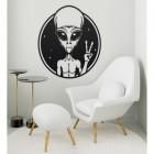 Peace Sign Alien Wall Art in a Modern Sitting Room