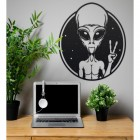 Peace Sign Alien Wall Art in Situ in the Office