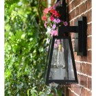Angular Black Modern Porch Wall Lantern With Floral Background