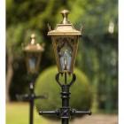 Antique Brass Gothic Lamp Post & Lantern Set 2.3m