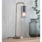 Antique Brass Ridged Glass Table Lamp in Situ in the Home