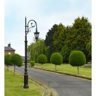 Antique Brown Cast Iron Ornate Swan Neck Lamp Post On Period Driveway
