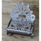 """Eveline"" Antique Chrome-Finish Cast Iron Vintage Toilet Roll Holder"