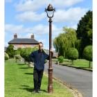 Antique Copper Finish Opulent Cast Iron Lamp Post Scale Shot
