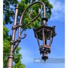 Antique Copper Finish Swan Neck Luminaire On Lamp Post Bracket