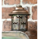 Antique Copper Flush Wall Light Finial With Dragonfly Detailing