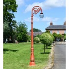 Antique Red Cast iron Lamp Post Column In front of period property
