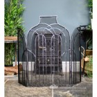 Antique Silver Arched Three Fold Fire Guard In Living Room