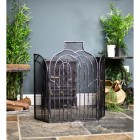Antique Silver Arched Three Fold Fire Guard In Situ