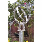 Antique Silver Armillary with Column in Use Outside