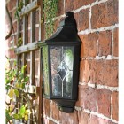 """Avebury Manor"" Traditional Half Lantern Wall Light Mounted Flush on a Brick Wall"