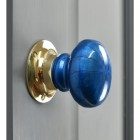 """Azure Blue"" Hand Finished Ceramic Door Knob With a Polished Brass Back Plate"